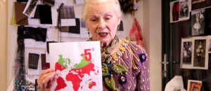 Vivienne Westwood showing her viewers what the world would look like if the temperature was +5C. The red would uninhabited